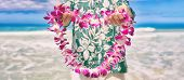 Hawaii welcome hawaiian lei flower necklace offering to tourist as welcoming gesture for luau party  poster
