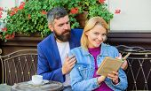 Man With Beard And Blonde Woman Cuddle On Romantic Date. Love And Flirt. Common Interests. Couple In poster