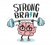 Very Strong Cartoon Brain Concept. Doodle Style. Vector Illustration Of Pink Color Centered Brain Wi poster