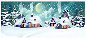 Houses With Illuminated Windows In Village Vector Illustration. Houses With Snow On Roofs And Fallin poster
