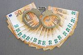 Handcuffs On The Background Of Euro. Fan Of 50, Euro. Euro Money Notes. Fan Of Euro Banknotes Backgr poster