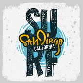 San Diego California  Surfing Surf  Design  Hand Drawn Lettering Type Logo Sign Label For Promotion  poster