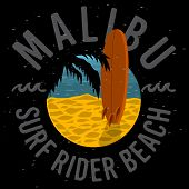 Malibu Surf Rider Beach California Surfing Surf Design  Logo Sign Label For Promotion Ads T Shirt Or poster