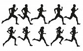 Run. Running Men And Women, Vector Set Of Isolated Silhouettes poster