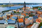 Panorama View Of Riga Cityscape Old Town, Dome Cathedral, Cathedral Basilica Of Saint James, Riga Ca poster
