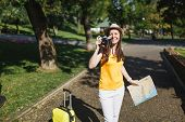 Young Traveler Tourist Woman In Hat With Suitcase, City Map Take Pictures On Retro Vintage Photo Cam poster