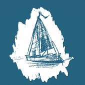 Sailing Boat. Sea Yacht Floats On The Surface Of The Water. Sailing Ship Or Boat In The Ocean In Ink poster