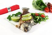 pic of brook trout  - roasted trout miller with parsley salad with - JPG