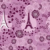 Roses On Eiffel -love In Parise Seamless Repeat Pattern. Background Illustration With Eiffel Tower A poster