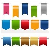 Big Ribbons Set, Isolated On White Background, Vector Illustration