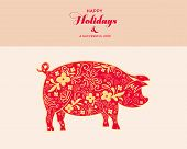 Chinese Zodiac Sign Year Of Pig, Red Paper Cut Pig, Happy Chinese New Year 2019 Year Of The Pig poster