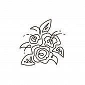 Vector Line Icon. Bouquet Of Flowers. Top View. One Line Drawing. Isolated On White Background. Cont poster