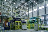 Chemical Factory. Thermoplastic Production Line. Production And Packing Machinery In Large Area Of I poster