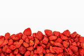 Pile Of Dried Strawberries (food Preservation) Isolated On White Background, Copy Space poster