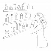 Woman Chooses Cosmetics And Perfumery At Cosmetics Shop. Beautiful Woman Is Standing By The Shelf Wi poster