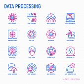 Data Processing Thin Line Icons Set: Data Science, Filtering, Deep Learning, Mobile Syncing, Big Dat poster