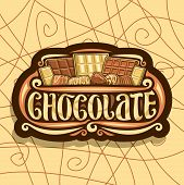 Vector Logo For Chocolate, Dark Retro Sign With Choice Of Assorted Kind Of Whole Premium Chocolate B poster