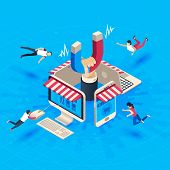 Web Store Customer Attraction. Attract Buyers, Isometric Retain Loyal Clients And Social Media Busin poster