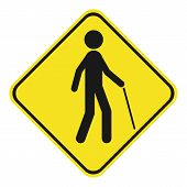 Blind Pedestrian With Walking Stick. Yellow And Black Rhombus Sign. Vector Icon. poster