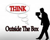 image of thinking outside box  - 3D illustration for business logo or slogan Think outside the box - JPG