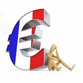 Постер, плакат: Кукла сидя на французский знак евро