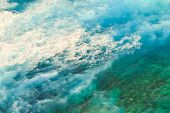 Aerial View Ocean With Waves Background. Marine Background Texture Of Blue Sea In Indian Ocean. Copy poster