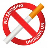 No Smoking Icon. Realistic Illustration Of No Smoking Vector Icon For Web Design Isolated On White B poster