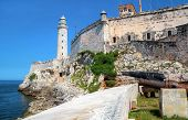 The famous fortress and lighthouse of El Morro in the entrance of Havana bay, Cuba