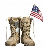 Old Military Combat Boots With The American Flag And Dog Tags, Isolated On White Background. Memoria poster