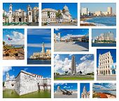 image of malecon  - Collage with landmarks and typical architecture of Havana - JPG