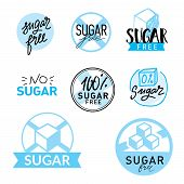 Set Of Label With Text - Sugar Free. Vector Illustration. Ettering Typography poster