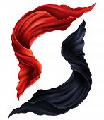 3d Realistic Set Of Flying Red And Black Silk Fabric. Two Pieces Of Flowing Satin Cloth Isolated On  poster
