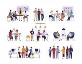 Collection Of Scenes At Office. Bundle Of Men And Women Taking Part In Business Meeting, Negotiation poster