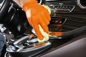 A Man Cleaning Car With Microfiber Cloth. Car Detailing. Selective Focus. Car Detailing. Cleaning Wi poster