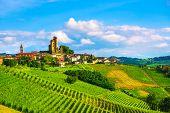 Langhe Vineyards Sunset Panorama, Serralunga D Alba, Unesco Site, Piedmont, Northern Italy Europe. poster