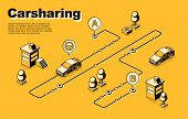 Carsharing Service Isometric Vector Concept Or Banner With Vehicles Moving Along Route, Between Dest poster