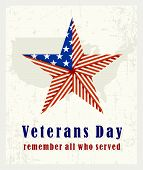 Beautiful Vintage Poster For Veterans Day. With The American Star Folded From The American Flag And  poster