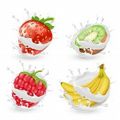 Set Of Juicy Summer Fruits And Berries In Milk Or Cream Splashes, Isolated On Background. Natural Or poster