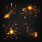 Vector Realistic Collection Of Fireworks, Sparks From Welding Or Cutting Metal. Bright Shining Comet poster
