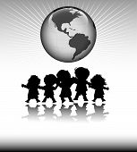 stock photo of school child  - kids and planet earth - JPG