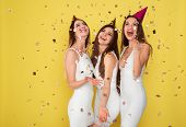 Party And Holidays Concept. Three Glamour Women In Luxury Glitter Sequins Dress Dancing And Having F poster