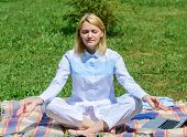 Girl Meditate On Rug Green Grass Meadow Nature Background. Find Minute To Relax. Woman Relaxing Prac poster