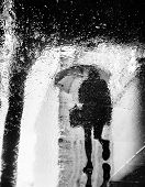 Abstract Image Of Rain In New York City. Reflections From Wet Tile Slabs. Pedestrians Hurry On Their poster