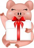 Pig With A Gift, Symbol Of The New Year, Pink Pig, Holiday Animal, Vector Illustration, Home Pet poster