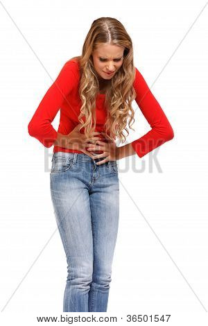Young Woman Having Terrible Pain In Stomach