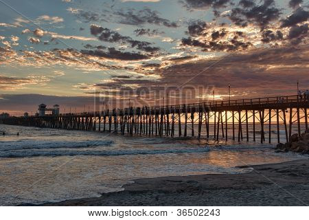 Summer sunset in Oceanside, California Pier. Oceanside is approximately 40 miles North of San Diego, California.