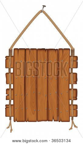 wooden sign hanging on a rope. isolated on white background