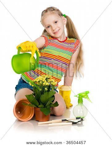 little girl watering flowers. white background