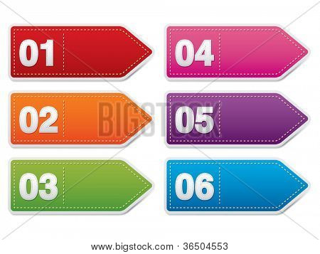 vector numbered banners, labels