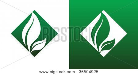 Leaf Pair Icon Vector on Both Solid and Reversed Background.